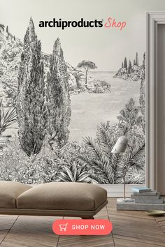 Artwork. Black and white panoramic non-woven paper wallpaper Iside Leroy Cypres. This panoramic wall decor is a Mediterranean perspective which takes you away to the shores of southern France, Corsica or Northern Italy.‎ #paperaestheticbackground #wallpapermuralsnature #wallpapermuralslivingroom #artwork #artworksideas #artworkforlivingroom