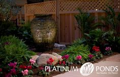 704-816-0526 Charlotte 864-381-7663 Greenville and Asheville Platinum Ponds and Lake Management #pondmanagement Slate stacked pondless urn fountain.  platinumponds.com