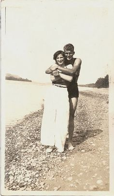 +~+~ Vintage Photograph ~+~+ Couple hugging on the beach. Generations change, but people don't.