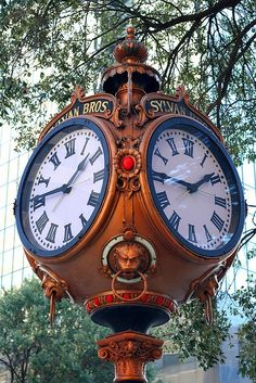Famous clock maker Seth Thomas created five clocks which were modeled after one in the town square of Bern, Switzerland. This clock in Columbia, SC is the oldest and is an iconic landmark. Unique Clocks, Cool Clocks, Vintage Clocks, Tick Tock Clock, Ring Der O, Father Time, Time Clock, Grandfather Clock, Kirchen