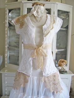 Vintage Lace Sweater Jacket - Rustic Romance - Boho - Upcycled Clothing - Vintage Lace. $68.00, via Etsy.
