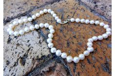 Beautifully knotted freshawater pearl necklace in natural white . This necklace is perfect for a mother of the bride. Pearl Necklace, Beaded Necklace, Mother Of The Bride, Fresh Water, Real Weddings, Vintage Inspired, Pearls, Purple, Natural