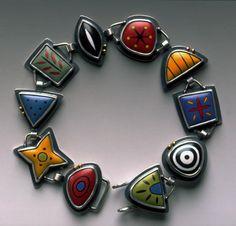 Bracelet | Kimberly Keyworth. Sterling, 22k, torch-fired enamel.