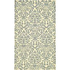 Hand-hooked Damask Beige-Yellow/ Grey Wool Rug (2'9 x 4'9)