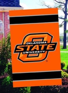 """Oklahoma State 44x28 Applique Banner      2-Sided Applique and Embroidered Flag    Made of heavyweight weather-resistant 420 denier nylon    Oversize 44"""" x 28""""    Hang Tabs allow flags to be hung as a door or wall decoration"""