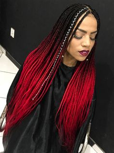 Why not consider bringing your box braids all the way up with a red splash of color. From burgundy to ombre, take a look at these red box braids for every taste Blonde Box Braids, Braids For Black Hair, Ombre Box Braids, Box Braids Hairstyles, Dance Hairstyles, Colored Box Braids, Curly Hair Styles, Natural Hair Styles, Sophisticated Hairstyles