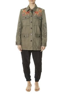 This is the 'Violette Eyelet' Army Green Military Jacket by stunning brand Johnny Was. Vibrant embroidered florals decorate the upper back of our Violette Eyelet Military Jacket, while delicate cut-outs cascade down the sleeves. Leopard Dress, Pink Leopard, Johnny Was Clothing, Spring Jackets, Cuff Sleeves, Striped Shorts, Yellow Dress, Army Green, Military Jacket