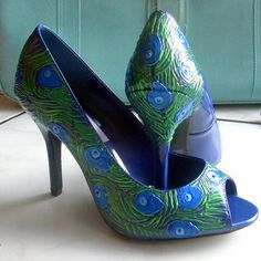 NAVY BLUE PEACOCK Party Peacock feathers painted cobalt blue peep toes FLY AWAY | Flickr - Photo Sharing!