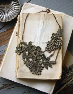 lace necklace STELLA muted olive by whiteowl on Etsy, $32.00