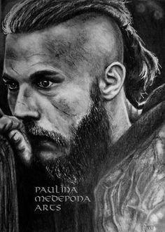 Ragnar Lothbrok pencil drawing by Paulina Medepona Arts