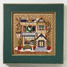 """MH147304 - Apothecary (2007)  Christmas Village Series - Mill Hill - Buttons and Bead Kits - Winter Series Kit Includes: Beads, ceramic buttons,perforated paper, needles, floss, chart and instructions.  Mill Hill frame GBFRM3 sold separately Size: 5"""" x 5"""""""