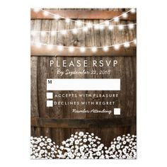 Rustic Country Wedding Rsvp | String Of Lights Card. Winery Wedding  InvitationsUnique ...