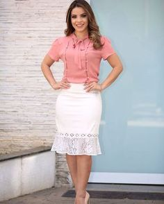 Image may contain: 1 person Blouse And Skirt, Dress Skirt, Lace Skirt, Casual Dresses, Fashion Dresses, Frocks For Girls, Skirt Patterns Sewing, Elegant Outfit, Work Fashion