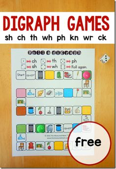 FREE Digraph Games - kids will have fun practicing consonant blends with these free printable games for sh, ch, th, wh, ph, kn, wr, ck. Perfect for teachers and homeschool in 1st grade and 2nd grade