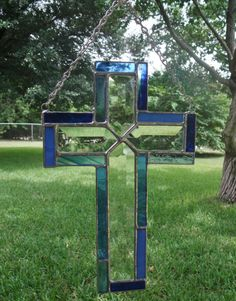Stained Glass Cross Suncatcher Clear by StainedGlassByGlynis