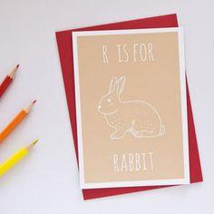 Rabbit Animal Alphabet Card - birthday cards
