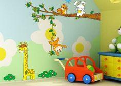 Fancy Wandtattoo Tierwelt Giraffe Affe Hasen u Baum by TopVintage uac