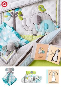 Turn tummy time into a trip to the zoo with Pat the Bunny and this cuddly Elephant bedding set and security blanket from Circo. Elephant Bedding, Elephant Nursery, Baby Elephant, Baby Boy Rooms, Baby Boy Nurseries, Baby Room, Baby Shower Gifts, Baby Gifts, Baby Girl Items