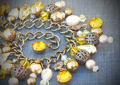 Vintage Rhinestone Bracelet Swarovski Yellow Solar by RewElliott, $46.00