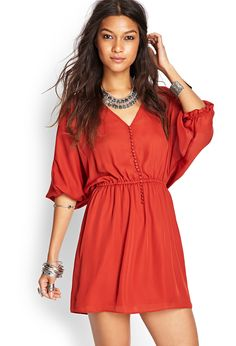 Buttoned Fit & Flare Dress | FOREVER21