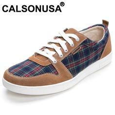 Calsonusa brand 2013 mens fashion plaid casual shoes genuine leather lacing Sneakers on AliExpress.com. $23.00