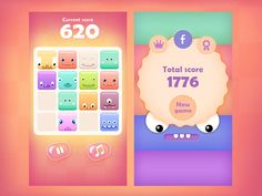 ArtStation - 2048 Cute Monsters - Mobile game GUI and graphics, Rafał Urbański