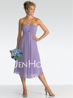 Bridesmaid Dresses - $93.99 - Empire Strapless Tea-Length Chiffon Bridesmaid Dresses With Ruffle (007001077) http://jenjenhouse.com/Empire-Strapless-Tea-length-Chiffon-Bridesmaid-Dresses-With-Ruffle-007001077-g1077