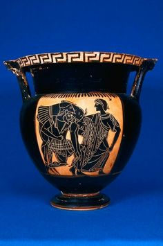 Ceramic black-figure column krater (mixing bowl) with Ajax carrying the corpse of Achilles (obverse). Italic, Apulian. Archaic Period. 500–450 B.C. | Museum of Fine Arts, Boston