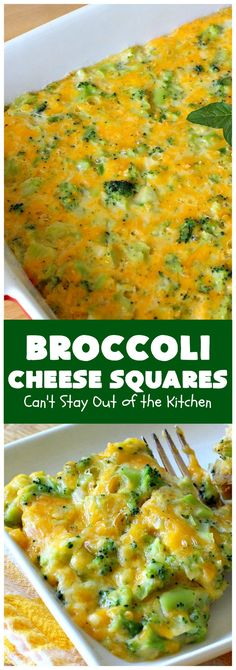 Broccoli Cheese Squares | Can't Stay Out of the Kitchen | this fantastic #GooseberryPatch #recipe is perfect for the #Thanksgiving or #Christmas #holidays. It can be whipped up & oven ready in about 5-10 minutes. It's loaded with #CheddarCheese. It received rave reviews when we served it to company. #Broccoli #SideDish #vegetable #BroccoliCheeseSquares