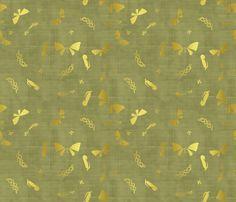 Doux papillons d'or jungle fabric by un_temps_de_coton on Spoonflower - custom fabric