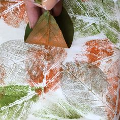 Paint rolled onto leaf and then printed on fabric in my Permission to Play workshop