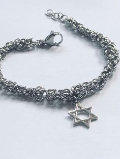 Star of David Bracelet - Bat Mitzvah gift - Bar Mitzvah present Jewish Jewellery Bat Mitzvah Gifts, Jewish Jewelry, Star Of David, Bar Mitzvah, Byzantine, Bracelet Making, Jewelry Box, Beaded Necklace, Chain