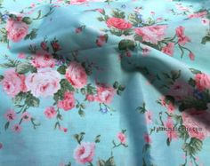 Light Pink Rose Flower Cotton Fabric In Light Aqua Blue Cotton Shabby Chic Floral Fabric - yard Light Pink Rose, Pink Rose Flower, Pale Pink, Shabby Chic Fabric, Shabby Chic Decor, Floral Fabric, Cotton Fabric, Strawberry Roses, Aqua Blue