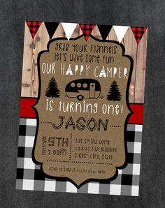 Happy Camper Invite - Camping Birthday - Printable Invite File