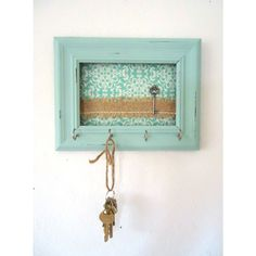 With copy of house key painted and in frame (?) Key Holder-Wall Hook Shabby Chic Frame- Home Decor-Organization Tiffany Blue 5 Silver Hooks- House warming gift-Ready to Ship Shabby Chic Homes, Shabby Chic Decor, Shabby Chic Key Holder, Marcos Shabby Chic, Wall Key Holder, Key Holders, Diy Key Holder, Home Crafts, Diy Home Decor