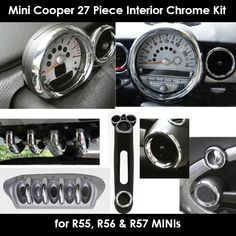 Mini Cooper & S Interior Chrome Kit 27 Pieces Mini Cooper Accessories, Cute Car Accessories, Mini Cooper Interior, New Mini Countryman, Yes Man, Harman Kardon, Mini Cooper S, Mini Things, Cute Cars