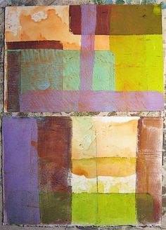 These are works in progress ~ one set of eight Gelli prints made in Carla Sonheim's class yesterday.   I absolutely love doing more with l...