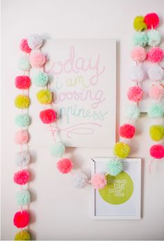 diy spring, diy spring project, diy home decor, diy pompom, diy pom pom garland Kids Crafts, Diy And Crafts, Craft Projects, Cute Diy Projects, Kids Diy, Preschool Crafts, Easter Crafts, Decor Crafts, Home Crafts
