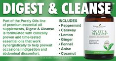Digest & Cleanse is an all-oil supplement formulated with oils traditionally used help prevent occasional indigestion and abdominal discomfort. Young Living Oils, Natural Oils, Peppermint, Cleanse, Sage, Career, Essential Oils, 1, Humidifier