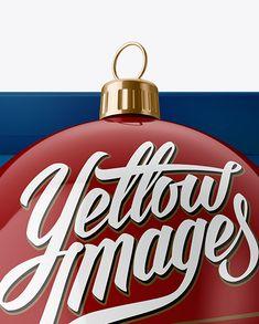 Glossy Christmas Ball in Paper Box Mockup (High-Angle Shot) (Close-Up)