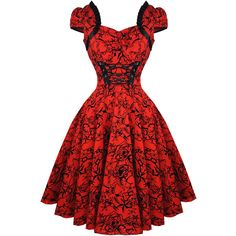 Hearts and Roses London Red Tattoo 1950s Dress ($51) ❤ liked on Polyvore featuring dresses, red rose dress, cocktail prom dress, prom dresses, goth prom dresses and red gothic dress