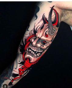 Oni Tattoo, Hanya Tattoo, Irezumi Tattoos, Forearm Tattoos, Body Art Tattoos, Japanese Mask Tattoo, Japanese Tattoo Designs, Japanese Sleeve Tattoos, Japanese Forearm Tattoo