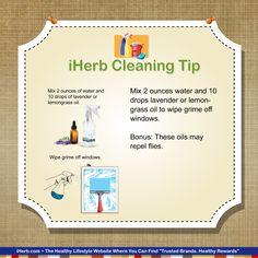 iHerb Cleaning Tip:  Water and your favorite essential oils can help clean the grime off windows.