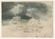 Joseph Mallord William Turner 'Dover: The Pier, with a Ship at Sea in a Storm', ?1793 - Graphite and watercolour on paper - Dimensions Support: 256 x 361 mm - Collection - Tate