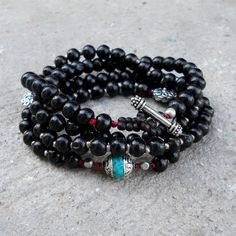 Protection and Strength, red string, 108 bead ebony prayer beads