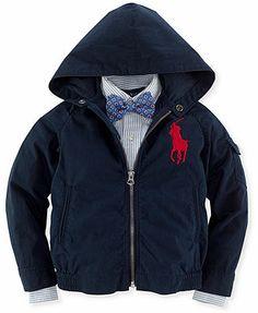 Ralph Lauren Little Boys' Hooded Windbreaker in khaki size 3T
