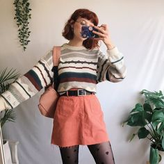 Angelic vintage jumper, gorgeous comfy slouchy oversized fit with the prettiest knitted striped pattern in cute colours and uber cosy wool. Grunge Look, 90s Grunge, Style Grunge, Retro Outfits, Stylish Outfits, Vintage Outfits, Cool Outfits, Fashion Outfits, Aria Montgomery
