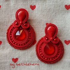 Fabric Jewelry, Beaded Jewelry, Jewelry Bracelets, Soutache Tutorial, Crystal Rose, Soutache Earrings, Charm Jewelry, Custom Jewelry, Jewelery