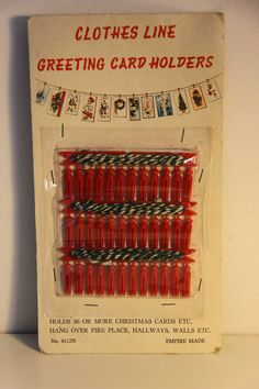 Vintage Christmas Card Hanging Line 1950s we had these
