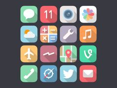 iOS 7 flat icons by miguelcm